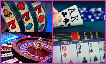 slots, video poker, roulette and blackjack